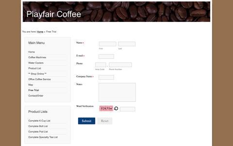 Screenshot of Trial Page playfaircoffee.com - Free Trial - captured Jan. 29, 2016