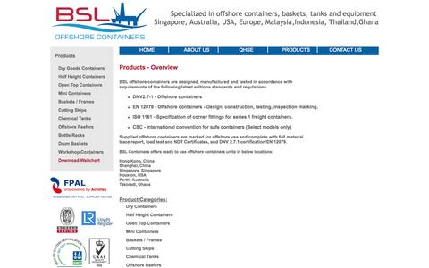 Screenshot of Products Page bsloffshore.com - Overview | BSL Offshore Containers - captured Oct. 4, 2014