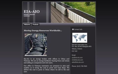 Screenshot of Home Page eia-aio.com - Welcome - captured Jan. 27, 2016