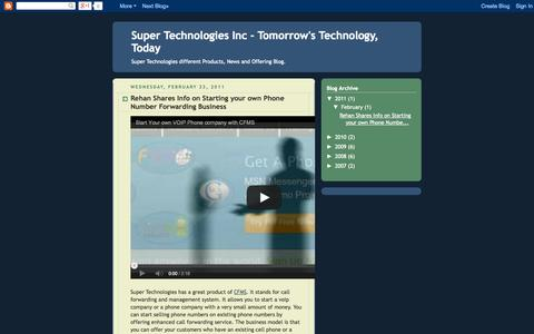 Screenshot of Blog supertec.com - Super Technologies Inc - Tomorrow's Technology, Today - captured Sept. 19, 2014