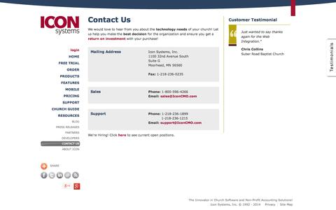 Screenshot of Contact Page iconcmo.com - Church Software Management (ChMS) | Contact Us | Church Software Cloud Technology - captured Oct. 10, 2014