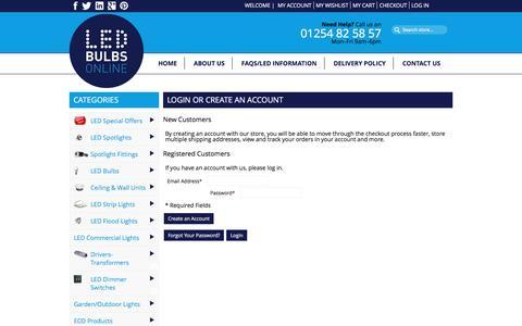 Screenshot of Login Page led-bulbs-online.co.uk - Customer Login - captured Jan. 22, 2016