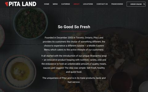 Screenshot of About Page pitaland.ca - Quality Foods - Pita Land - captured July 18, 2018