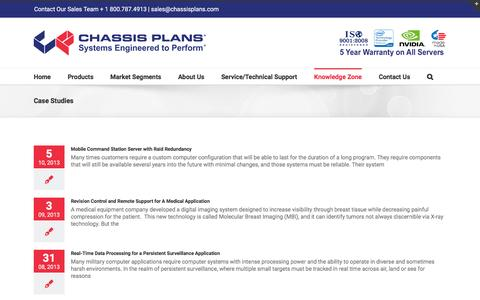 Screenshot of Case Studies Page chassis-plans.com - Case Studies for Rugged Military and Industrial Computers - captured July 5, 2016