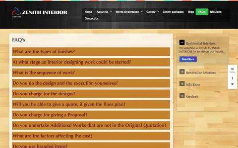 Screenshot of FAQ Page zenithinterior.com - FAQ's » zenithinterior.com - captured Oct. 29, 2014