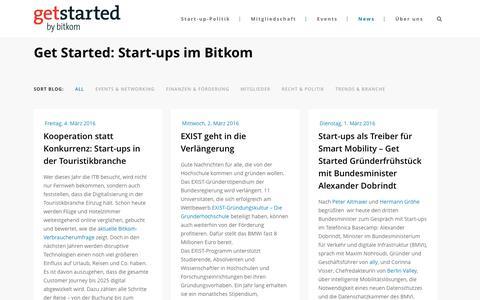 Screenshot of Press Page getstarted.de - Start-up News aus dem Digitalverband Bitkom | Get Started - captured March 4, 2016