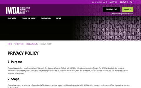 Screenshot of Privacy Page iwda.org.au - Privacy policy | IWDA - captured Oct. 12, 2018