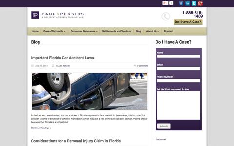 Screenshot of Blog paulandperkins.com - Florida Personal Injury Blog - Presented by Paul & Perkins PA - captured Oct. 2, 2014