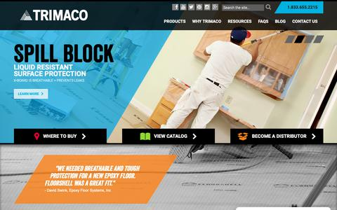 Screenshot of Home Page trimaco.com - Total Jobsite Protection - Surfaces, Dust Containment & More Trimaco - captured Oct. 20, 2018