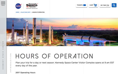 Screenshot of Hours Page kennedyspacecenter.com - Hours Of Operation | Kennedy Space Center - captured Oct. 18, 2017