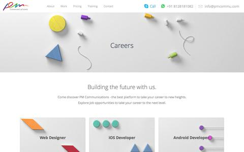 Screenshot of Jobs Page pmcommu.com - Career at PMCommu | PM Communications | Best Website, Graphic, Mobile Designing and development Company - captured Sept. 25, 2018