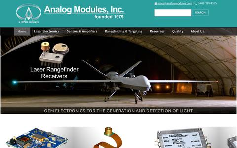 Screenshot of Home Page analogmodules.com - Analog Modules, Inc. | OEM Laser and Sensor Electronics | Home - captured Oct. 23, 2018