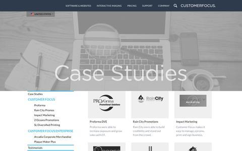 Screenshot of Case Studies Page customerfocus.com - Case Studies | Promotional Products Software & Websites | Customer Focus - captured Jan. 20, 2016
