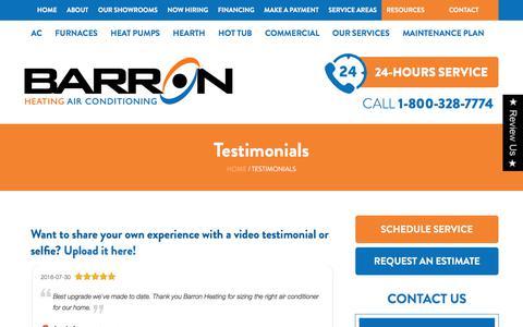 Screenshot of Testimonials Page barronheating.com - Testimonials   HVAC Company Bellingham WA   HVAC Reviews - captured Aug. 1, 2018