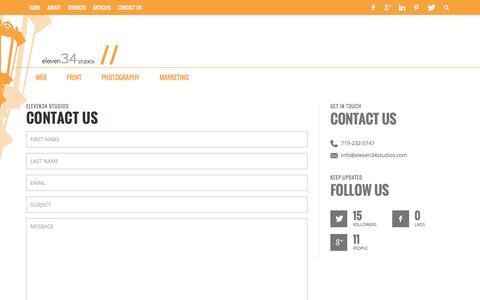 Screenshot of Contact Page eleven34studios.com - // Contact Us   Eleven34 Studios - captured Dec. 8, 2015