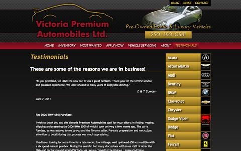 Screenshot of Testimonials Page victoriapremiumauto.com - Testimonials - Victoria Premium Automobiles Ltd. - Quality Used Luxury & Sports Cars in Victoria, BC - captured Oct. 7, 2014