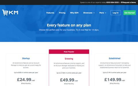 Screenshot of Pricing Page ekmpowershop.com - Pricing of EKM eCommerce Software - captured June 29, 2016