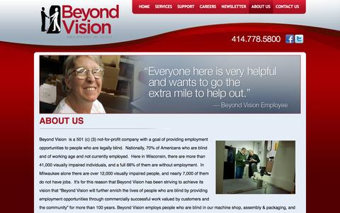 Screenshot of About Page beyondvision.com - About Us - captured Oct. 5, 2014