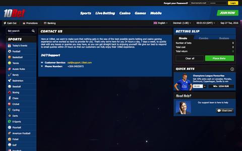Screenshot of Contact Page 10bet.com - Contact 10Bet - captured Sept. 27, 2016