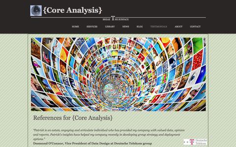Screenshot of Testimonials Page coreanalysis.ca - Core Analysis References - captured June 19, 2017