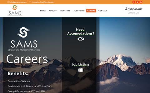 Screenshot of Jobs Page getsamsnow.com - Careers | Strategy and Management Services, Inc. - captured March 12, 2019