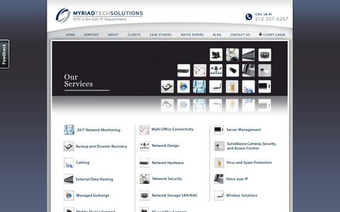 Screenshot of Services Page myriadtechsolutions.com - IT Managed Services NYC – Our Services - Myriad Tech Solutions - captured Oct. 26, 2014