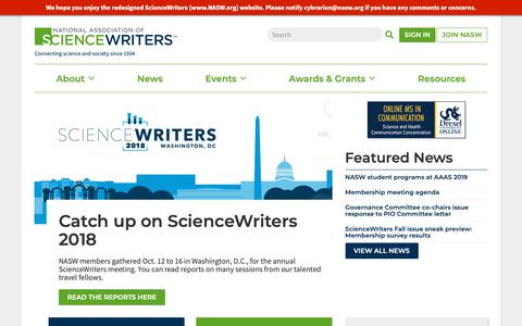 Screenshot of Home Page nasw.org - ScienceWriters (www.NASW.org)   Connecting science and society since 1934 - captured Oct. 18, 2018