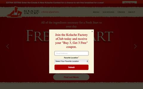 Screenshot of Home Page kolachefactory.com - Kolache Factory - Freshest, Highest Quality and Best Tasting Kolaches - captured June 4, 2019