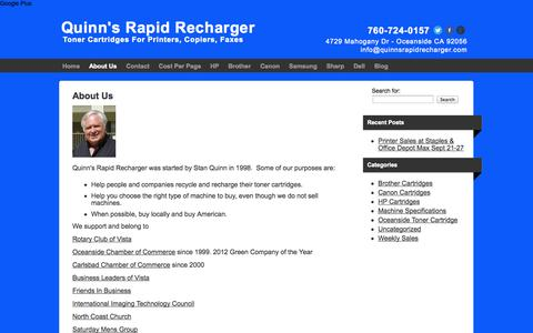 Screenshot of About Page quinnsrapidrecharger.com - About Stan Quinn, Quinns Rapid Recharger - captured Sept. 30, 2014