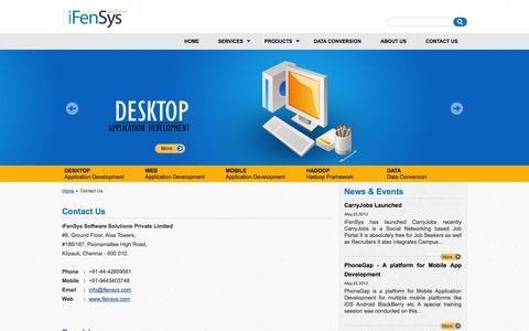 Screenshot of Contact Page ifensys.com - iFenSys Software Solutions Pvt. Ltd - captured Oct. 6, 2014