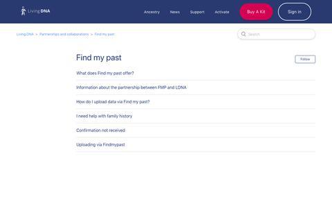 Screenshot of Support Page livingdna.com - Find my past  – Living DNA - captured April 4, 2019