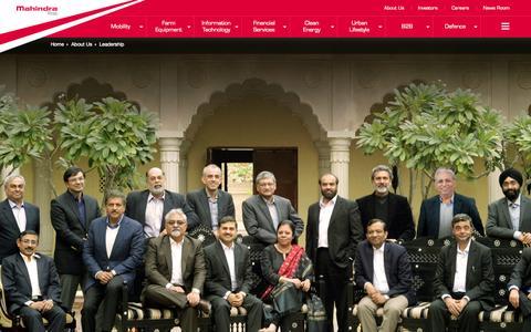 Screenshot of Team Page mahindra.com - Our Leadership at Mahindra Rise - captured Nov. 18, 2015