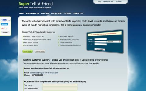Screenshot of Support Page super-tell-a-friend.com - Tell A Friend Script With Contact Importer - Super Tell A Friend | Import contacts and invite all friends - Customer Support - captured April 2, 2016