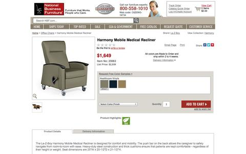 Screenshot of Landing Page nationalbusinessfurniture.com - Harmony Mobile Medical Recliner - 25063 and more Office Chairs - captured Oct. 27, 2014