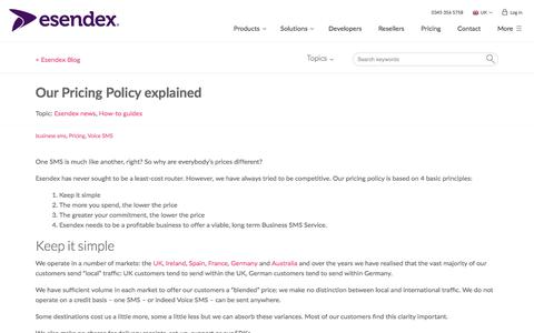 Screenshot of Pricing Page esendex.co.uk - Our Pricing Policy explained | Esendex Blog - captured Sept. 22, 2017