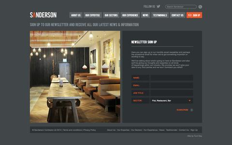 Screenshot of Signup Page sandersonltd.co.uk - Newsletter Sign Up   Sanderson Contracts Ltd - captured Oct. 4, 2014