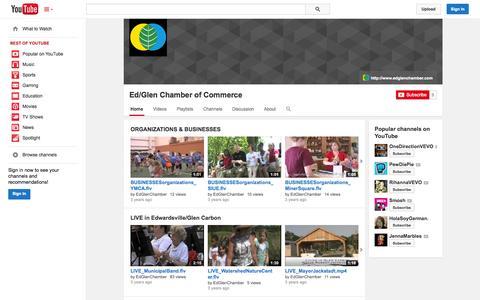 Screenshot of YouTube Page youtube.com - Ed/Glen Chamber of Commerce  - YouTube - captured Oct. 22, 2014