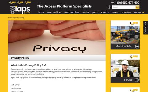 Screenshot of Privacy Page iapsgroup.com - Privacy Policy | IAPS Group – The Access Platform Specialists - captured Sept. 30, 2014