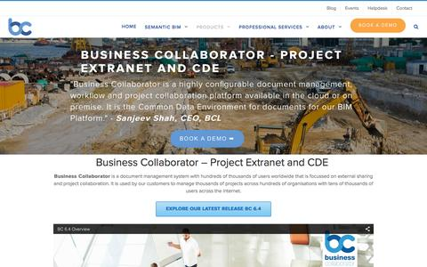 Screenshot of Products Page groupbc.com - Business Collaborator Project Extranet and CDE - captured Feb. 21, 2016