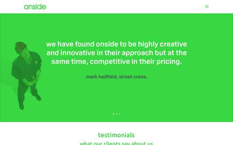 Screenshot of Testimonials Page onsidecreative.co.uk - Onside Creative client testimonials & marketing reviews - captured Nov. 29, 2016