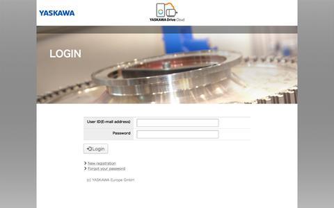Screenshot of Login Page yaskawacloud.com - Login - YASKAWA Cloud - captured July 16, 2019