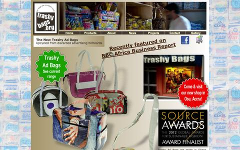 Screenshot of Home Page trashybags.org - Trashy Bags: Eco-friendly recycled plastic bags and gifts, made in Africa. - captured Oct. 7, 2014