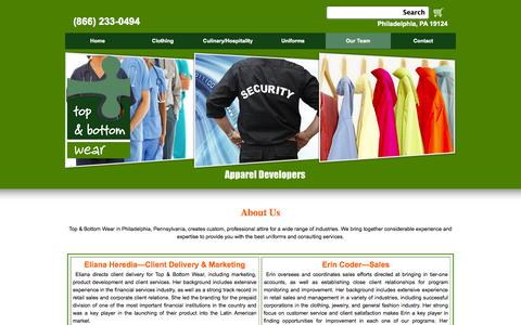Screenshot of Team Page tbwear.net - Uniform Store | About Us | Philadelphia, PA - captured Oct. 7, 2014