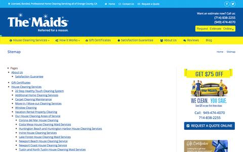 Screenshot of Site Map Page themaidsoc.com - The Maids Home Services Orange County CA, A Professional Home Cleaning Company - captured Sept. 23, 2014