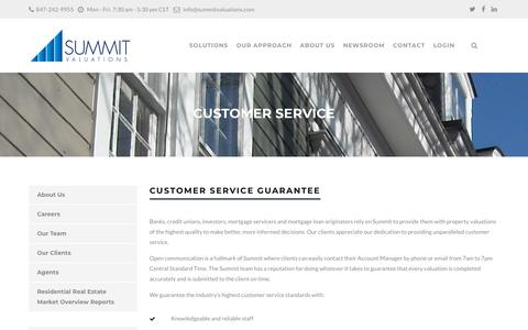 Screenshot of Support Page summitvaluations.com - Customer Service - Summit Valuations - captured Sept. 21, 2018