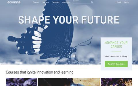Screenshot of Home Page edumine.com - Edumine - Professional Development and Training for Mining - captured July 16, 2018