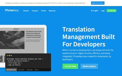 Screenshot of Developers Page phrase.com - The Most Developer-centric Localization Platform - captured Aug. 6, 2019