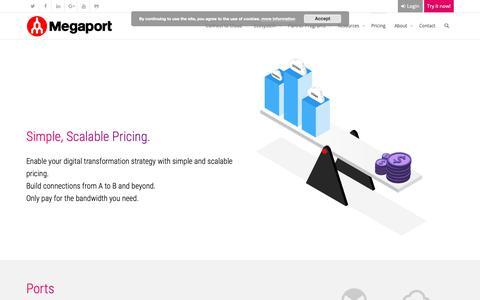 Screenshot of Pricing Page megaport.com - Pricing - Megaport - captured Oct. 17, 2018