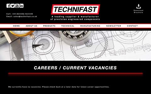 Screenshot of Jobs Page technifast.co.uk - Careers & Jobs In Fastener Industry | Technifast - captured May 7, 2017