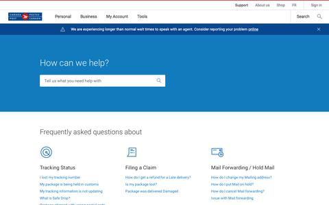 Screenshot of Contact Page Support Page canadapost.ca - Support: Find answers, contact us or report a problem | Canada Post - captured Sept. 21, 2018
